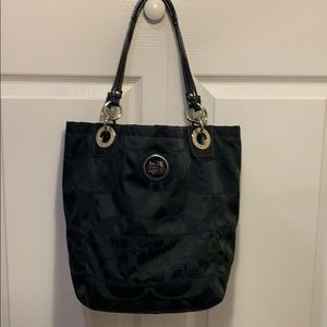 Black coach tote with silver hardware